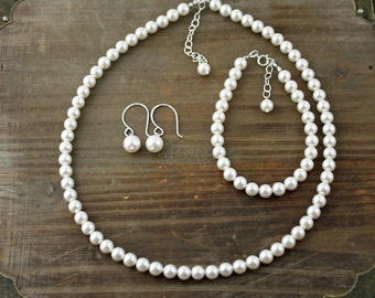Swarovski Pearl 3 Piece Set, Necklace, Earrings, and Bracelet, You Choose your Color, Bridal Party Set