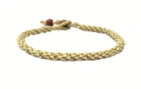 Fair Trade Classic Cream Cotton Handcrafted Thai Buddhist Wristband Bracelet