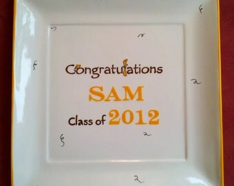 GRADUATION GUEST BOOK alternative -  Guest Book - Congratulations Platter signature plate -  sign in platter - Year