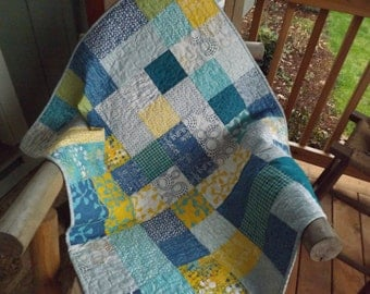 Baby Boy Quilt Modern  Patchwork Gender Neutral Baby Quilt Blue, Yellow, Teal, Gray Sphere