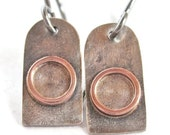 Silver Copper Reticulated Small Dangle Earrings