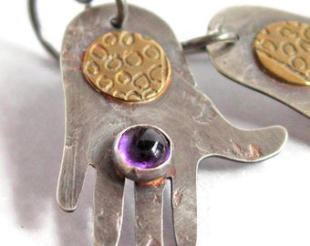 Silver and Brass with Amethyst Hand Shaped Earrings