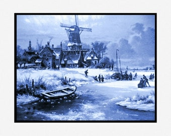 Set of 4 prints Windmills blue delft Holland Netherlands pearl finish 8 x 10
