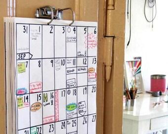 wall calendar Jul 2017 - Dec 2018