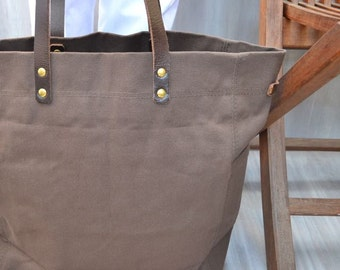 THOMPSON STREET TOTE Original Design, Hand Made, Brown Cotton Canvas Tote,  Mens Cotton Canvas Tote, Womens Canvas Tote, Shoulder Tote
