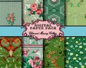 Vintage Wallpaper Floral Digital Paper Pack SALE!!! - 8 Digital Collage Sheets - Vintage Floral Greens (2) Digital Download - Instant Downlo