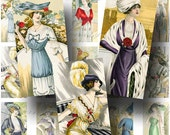 French Fashion Digital Collage Sheet ON SALE!!!  Ladies, Hat, Gown, Dress Digital Download Vintage Fashion Domino Size #2 INSTANT Download