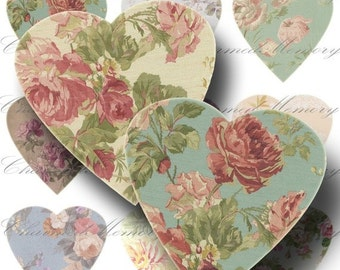 SALE!!! Rose Heart Digital Collage Sheet - Digital Download - Shabby Floral Heart Shape Cut Outs Die Cut #1 Printable INSTANT Download