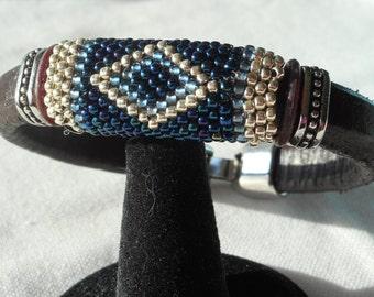 Handmade Leather Bracelet with Beadweaving.