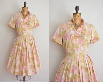 vintage 1950s dress / 50s pink floral cotton dress / 1950s full skirt