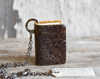 Mini Leather Book Necklace in Shale, Bridesmaid Gift, Mini Diary, Miniature Book, Bookworm Gift, Teacher Gift, Mini Leather Journal, Books