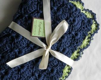 Crochet Baby Blanket-Baby Boy Blanket - Dark Country Blue Panel Shells Stroller/Travel/Car seat blanket- Baby boy shower gift- Baby blanket