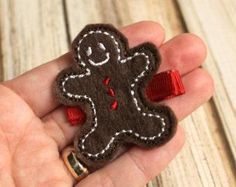 Gingerbread Boy Hair Clip, Felt Hair Clippie, Machine Embroidered, Alligator Clip, Non Slip, Ready to Ship
