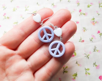 Peace Sign Earrings, Hippy Earrings, Cute Earrings, Pastel Kawaii Earrings, Kawaii Earrings, Pastel Earrings