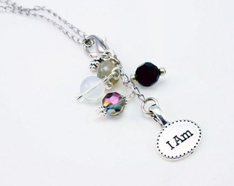 Charm Necklace - Affirmation Necklace - Quote Jewelry - Inspirational Jewelry - Necklace - Affirmations Jewelry - I am  Jewelry NKL043
