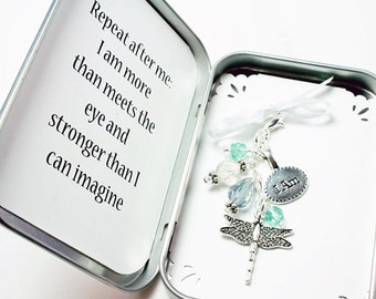 Inspirational Packaged Gift. Custom Keychain Gift. Dragonfly Charm Gift. Beaded Keychain Charm. NKL021