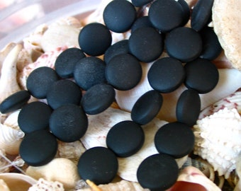 "4"" / 8"" Jet Black Opaque 15mm sea beach glass bead coin matte frosted small recycled"
