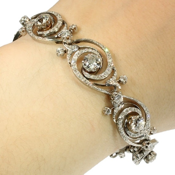 Antique Diamond Bracelet platinum gold 18k twirled links European cut diamonds Emile Olive France circa 1890