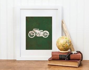 Motorcycle Nursery Printable Art  - Digital Download - Vintage Motorcycle Print - Transportation Nursery Art