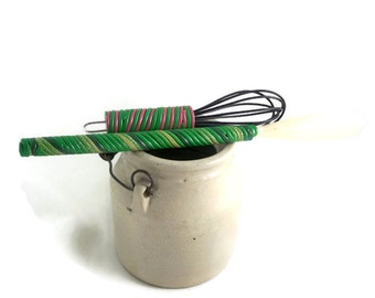 Whisk and wooden spoon set mini with polymer clay handles