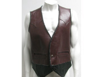 Mens Vintage Maroon And Black Leather Snap Front Western Vest With Braid Trim Fits Mns Size Large