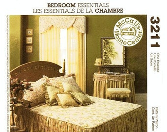 McCall's Home Decor Pattern 3211 - Bedroom Essentials - Bedspread, Pillows, Vanity Skirt, Bench Cover,Throw Pillows, Window Panels & Cornice