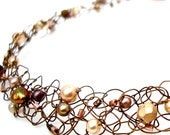 Copper Necklace Chocolate Gold Beaded Wire Knit Woven Choker Collar Exquisite Brown Pearl Jewelry pearls & crystals mocha ivory gold