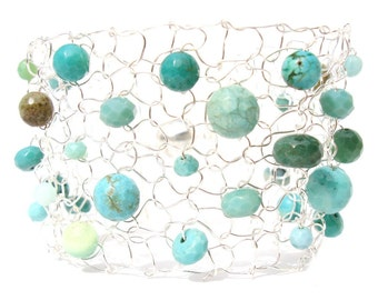 Turquoise Jewelry Gift Summer Colorful Silver Turquoise Cuff Bracelet Green Opal Beaded Wire Mesh Jewelry for Her