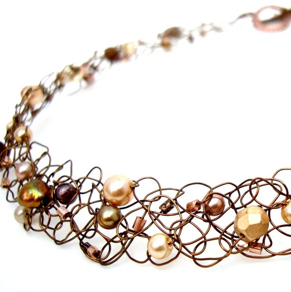 Copper Necklace Chocolate Gold Beaded Wire Knit Choker Collar Exquisite Brown Pearl Jewelry pearls & crystals mocha ivory gold