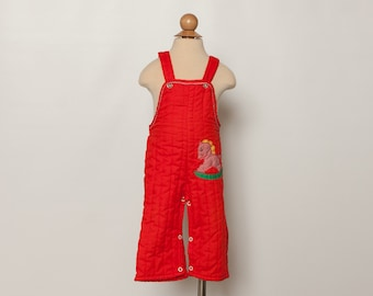 vintage 70s baby overalls quilted red rocking horse