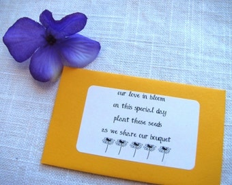 Set of 25 - our love in bloom...share our bouquet- Seed Packet Favor- FILLED WITH your choice SEEDS- rustic wedding favors