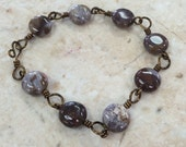 Wire Wrapped Jasper Bracelet / Free Shipping