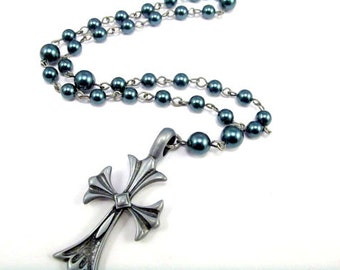 Anglican Prayer Beads in Teal Pearls and Pewter Cross