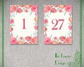 5x7 DIY Wedding Table Numbers 1-30 - Instant Download -  Watercolor Flower Printable, Wedding Decor, DIY Wedding