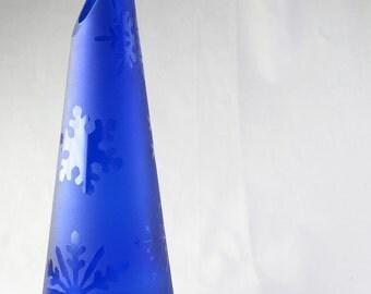 Snowflake Sandblasted Wine Bottle Vase