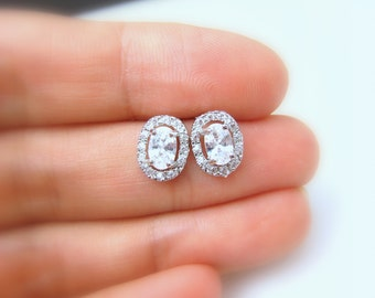 bridal earrings wedding jewlery prom party bridesmaid earrings oval cut cubic zirconia post white gold silver earrings mini petite pave stud