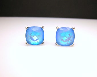 christmas prom bridal wedding bridesmaid gift Swarovski neon candy ultra blue ab square cushion cut foiled rhinestone silver stud earrings