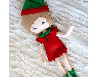 """9.25"""" Evie the Elf Doll - Elliot the Elf - Made to Order Christmas Elf Doll - Elf Doll - Elf Felt Handmade Miniature Posable Doll"""
