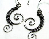 Wire Wrapped Sterling Silver, Beaded Earrings, Handcrafted Jewelry, Antiqued Sterling Silver, Seashell Spiraled Earrings