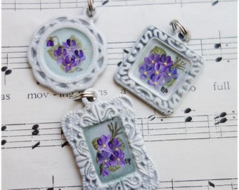 Hand painted Violets white metal lace Pendant Charm for necklace bracelet ornament tag lot of 3