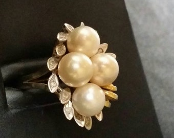 Huge Pearl & Diamond cluster 14k ring size 8