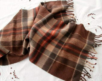 vintage brown plaid scarf - wool, Eddie Bauer