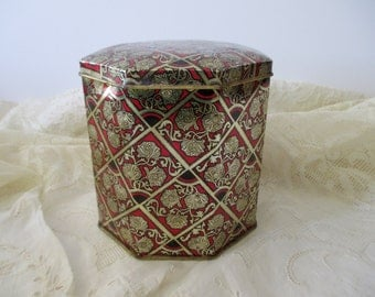 vintage DECORATIVE TIN with hinged lid-Made in ENGLAND, red, black, gold, floral