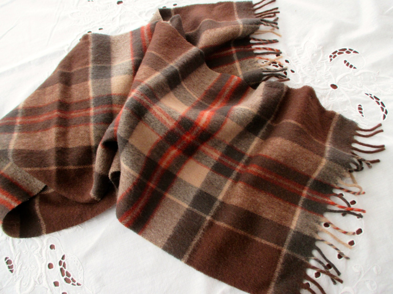 vintage brown plaid scarf wool eddie bauer