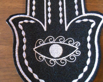 Silver metalic thread on black embroidered hamsa iron on patch