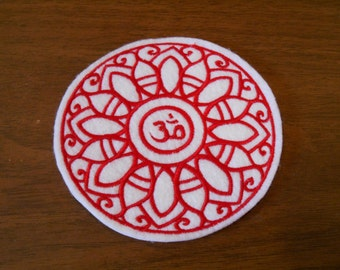Red embroidered OM / AUM mandala iron on patch