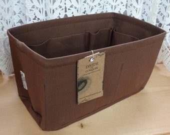 Purse insert ORGANIZER Shaper / 12 x 6 rectangular / BROWN / Fits LV Neverfull mm / With stiff wipe-clean bottom / Ready to ship