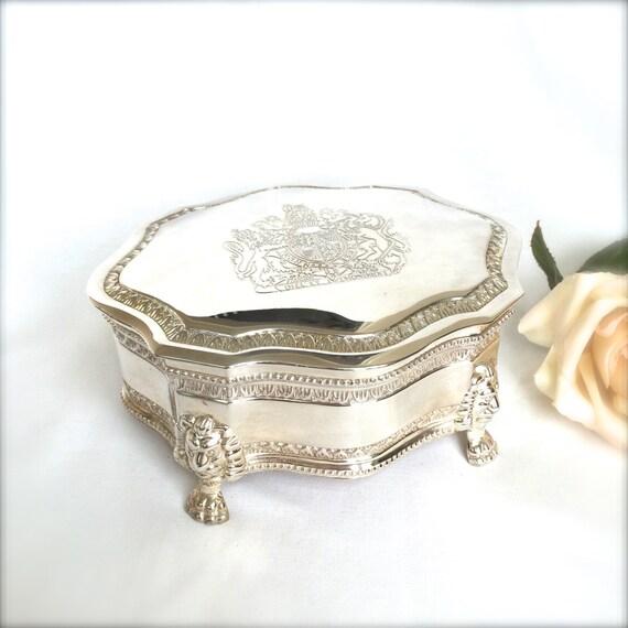 Silver plated monarchy jewelry box silver casket trinket box for Dieu et mon droit royal crest silver plated jewelry box