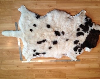 "Beautiful Soft Larger Jacob Sheep hide with 10"" tail"