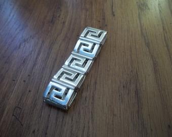 Geometric Bracelet / Silver Tone Bracelet / Vintage 80s Bracelet